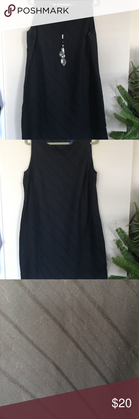 """Black Linen Sheath Classic Diagonal Patterned Black Linen Sheath. Classic look for an evening on the town or special occasion. Fully lined & is 38"""" long(from top of shoulder). Lane Bryant Dresses"""