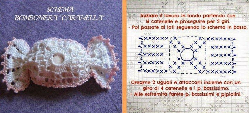 Schema Bomboniera Caramella Uncinetto Il Blog Di Vera Maglia Uncinetto Applicazioni All Uncinetto Bomboniera Uncinetto Natalizio