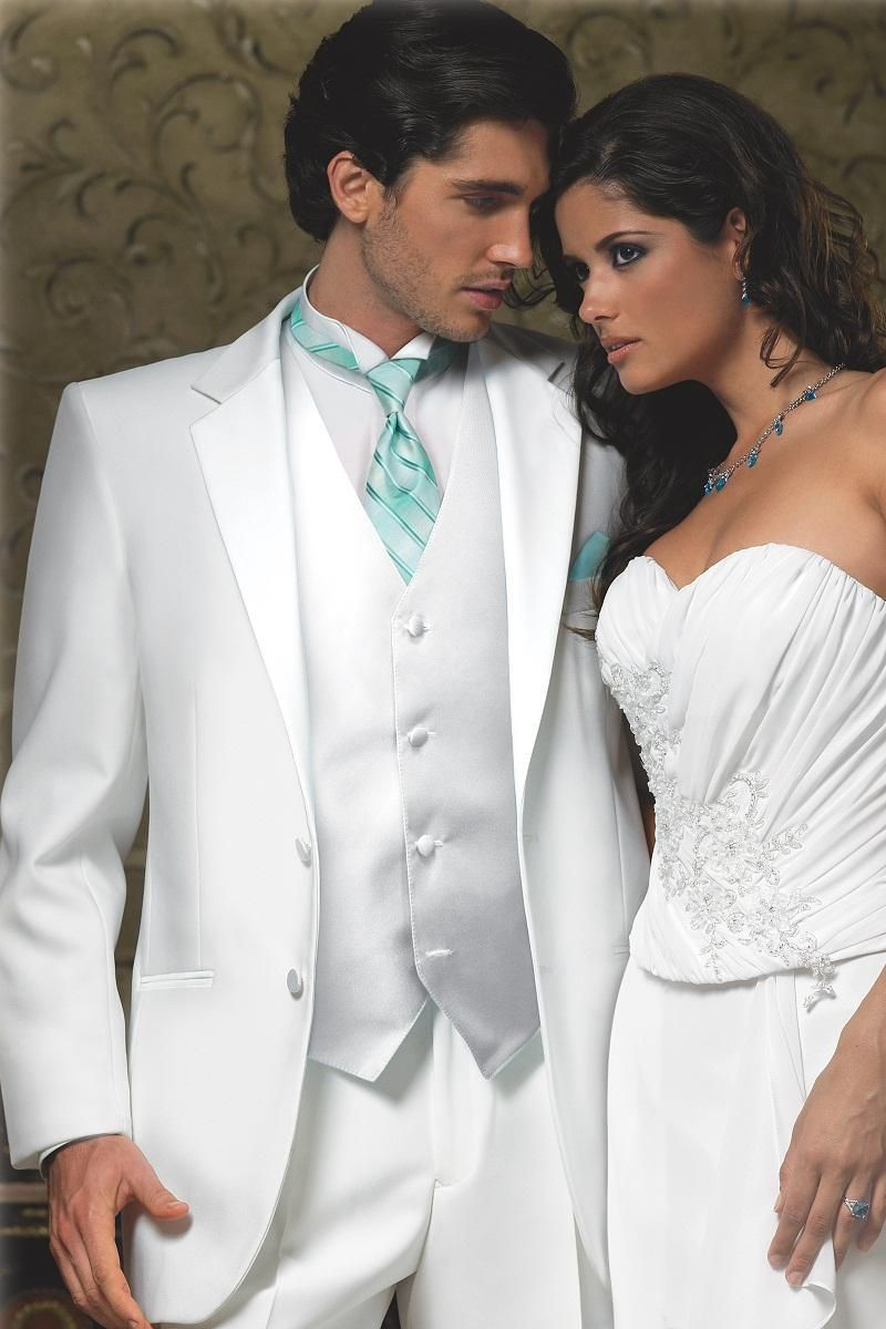 High Quality Two Buttons White Groom Tuxedos Groomsmen Mens Wedding ...