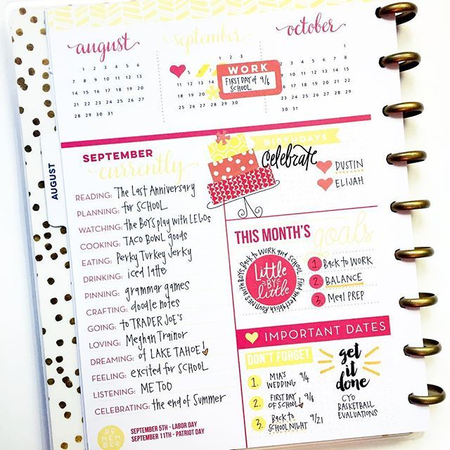 @meandmybigideas September #currently page <3!! Love, love, love the bright, fun colors. #mambi #thehappyplanner #stickercake