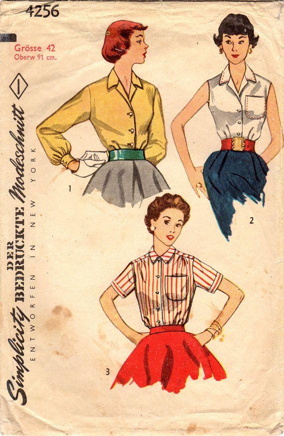1950er Jahre Einfachheit 4256 Vintage Nähen Muster Jr vermisst ...