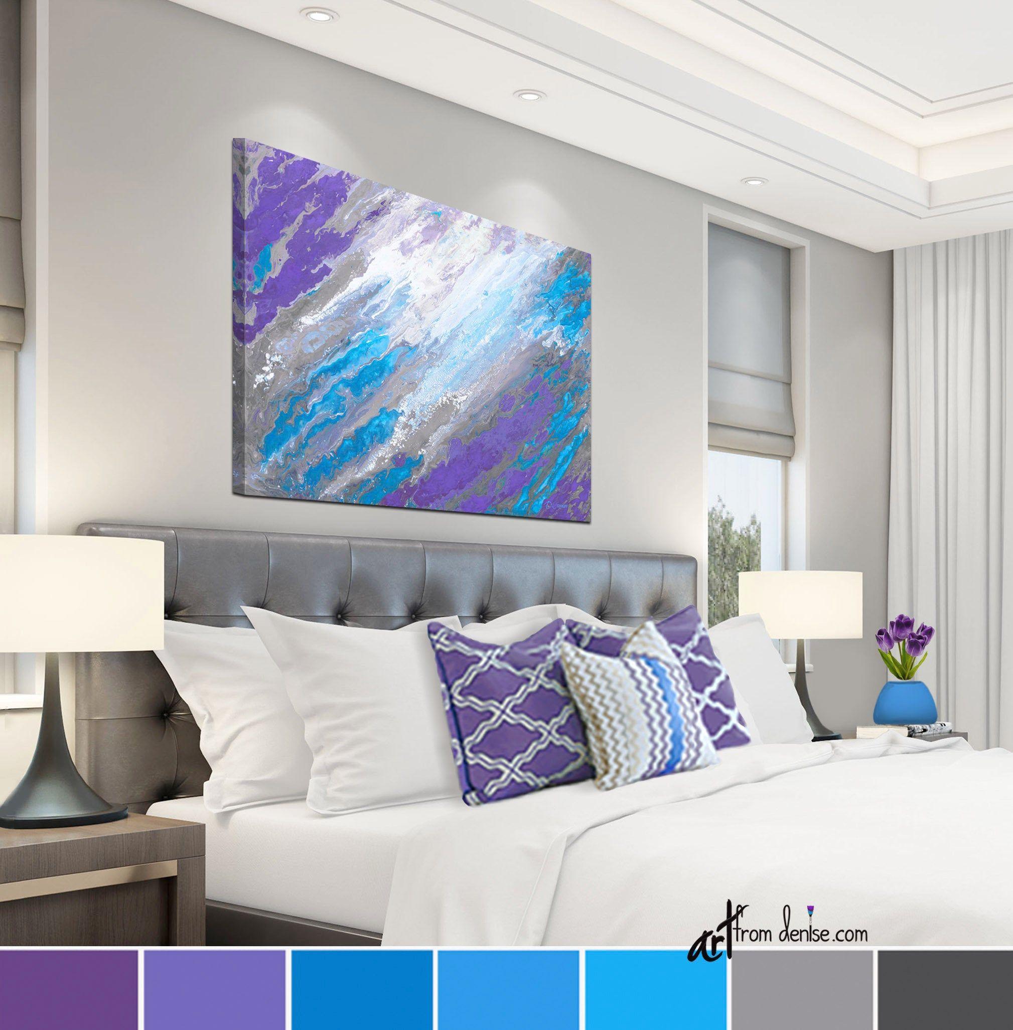 Abstract canvas wall art purple blue gray modern