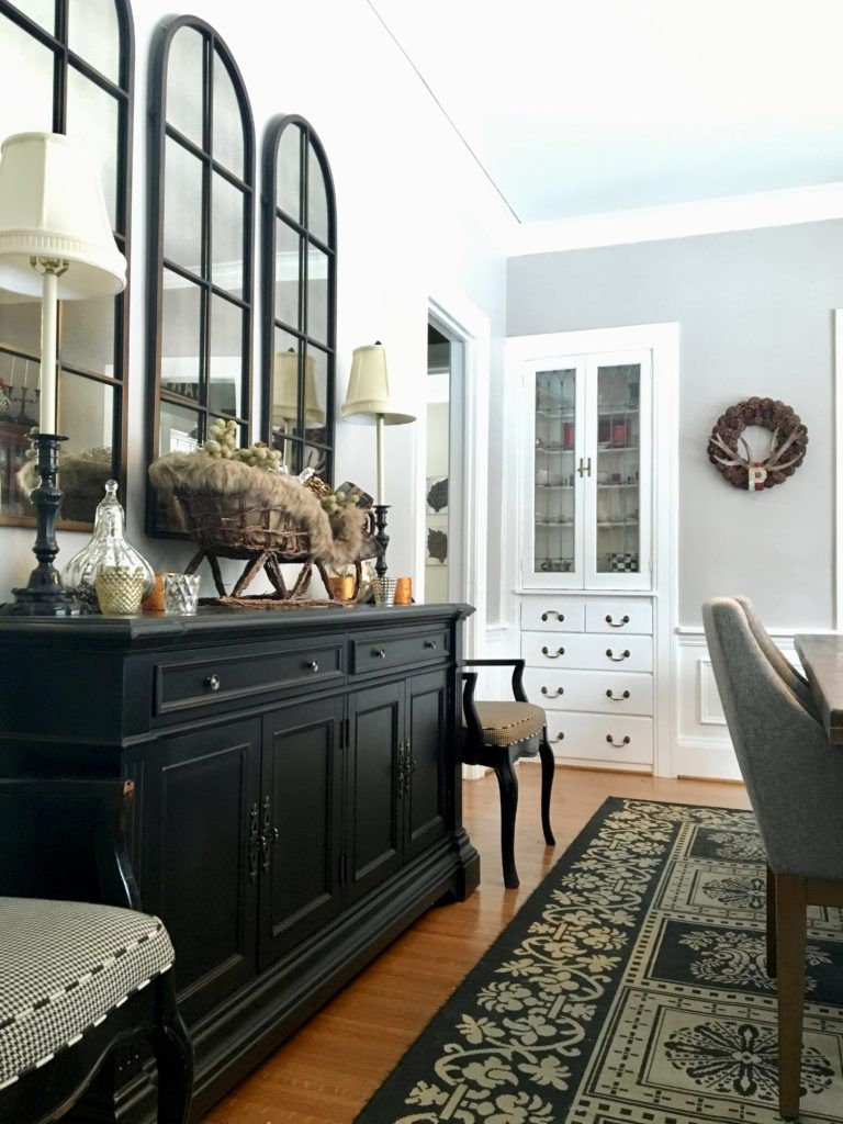 Meme Hill Beautiful Dining Rooms Black Buffet Server Sideboard White Gray Room Arched Mirr Mirror Dining Room Sideboard Decor Dining Room Dining Room Sideboard