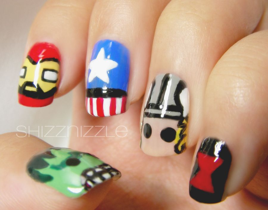 Creative & Colorful Nail Art Inspired By The Avengers | 3d, Colorful ...