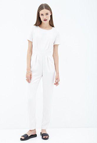 b788a695b47 Short-Sleeved Crepe Jumpsuit