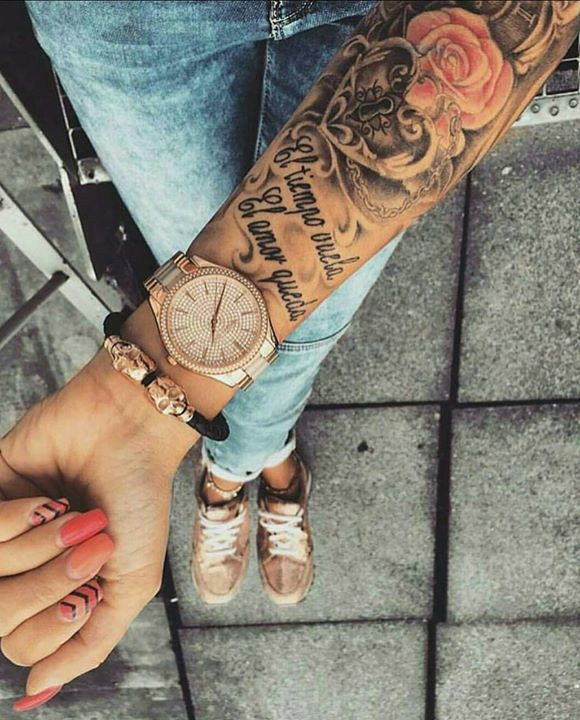 74ced87e2 Time flies, love remains | Tattoo | Arm tattoo, Holy tattoos ...