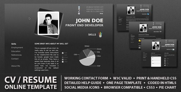 Resume Website Template Procv  Professional Online Resume  Cv Procv Is A Stylish