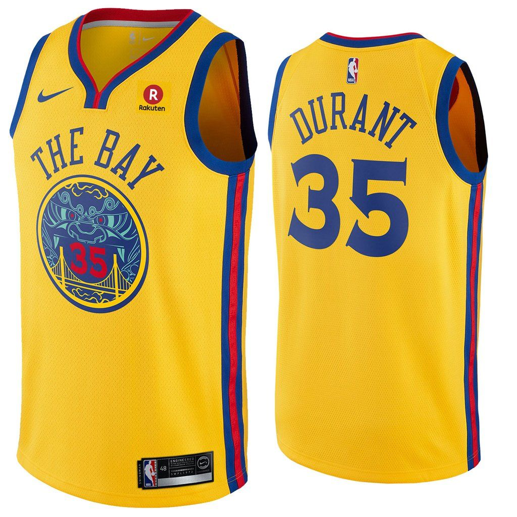 66a56c432da Men s Golden State Warriors  35 Kevin Durant Jersey Yellow the Bay Fans  Swingman