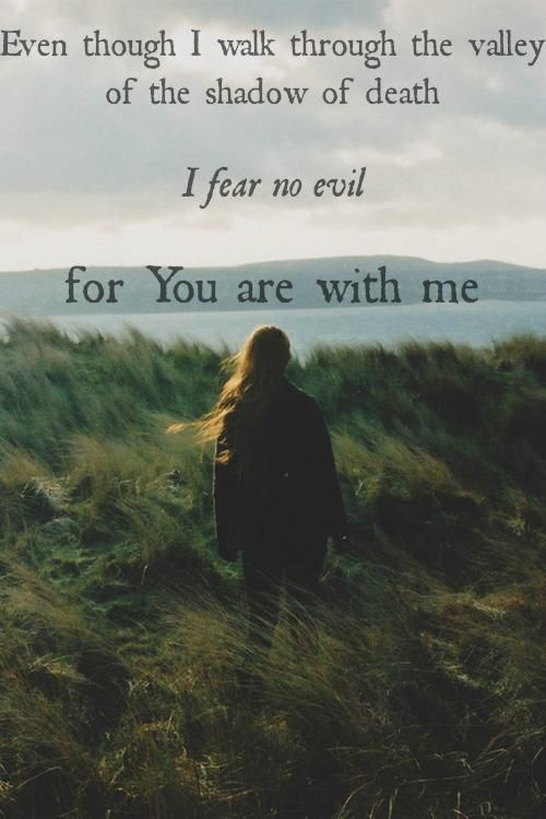Though I walk through the valley of the shadow of death, I will fear no evil - Psalms 23:4  ~~I Love the Bible and Jesus Christ, Christian Quotes and verses.