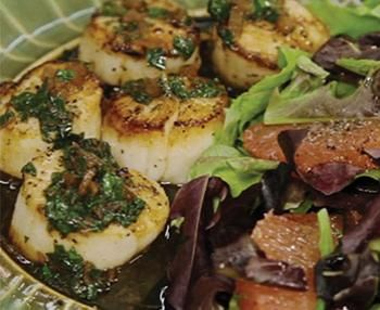 Scallops with Lemon Parsley Butter Sauce