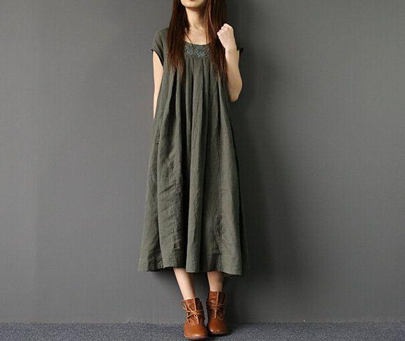 79bd622576a Femme de Long Maxi robe ample été longue robe en vert par MaLieb ...