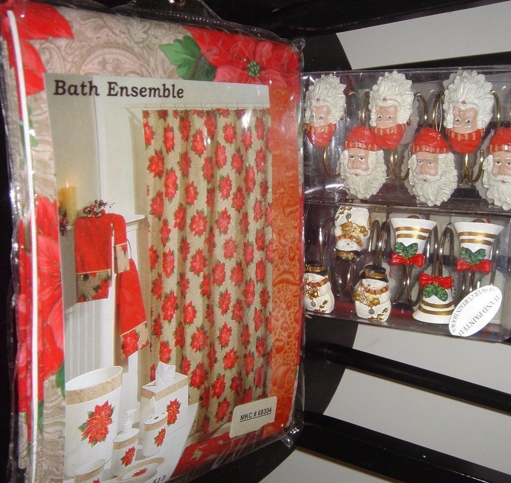 Christmas shower curtains on ebay - 12 Decorative Christmas Hand Painted Hooks Poinsettia Shower Curtain 72 X 72 In Home Garden Bath Shower Curtains Ebay
