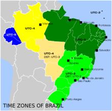 Time zones in Brazil (click to enlarge) | Brazil travel. Brazil. Time zones