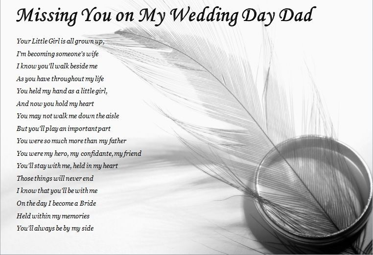 Dad missing you on my wedding day laminated poem