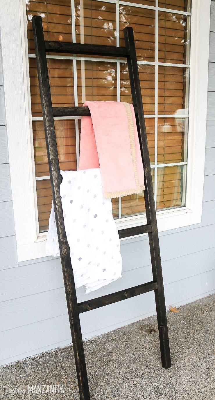 Baby blanket ladder for modern farmhouse nursery blanket