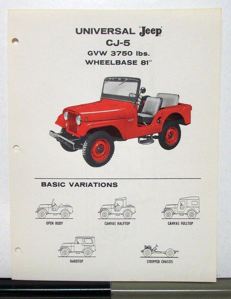 1958 Datasheet Cj5 1 Willys Jeep Jeep Jeep Cj5