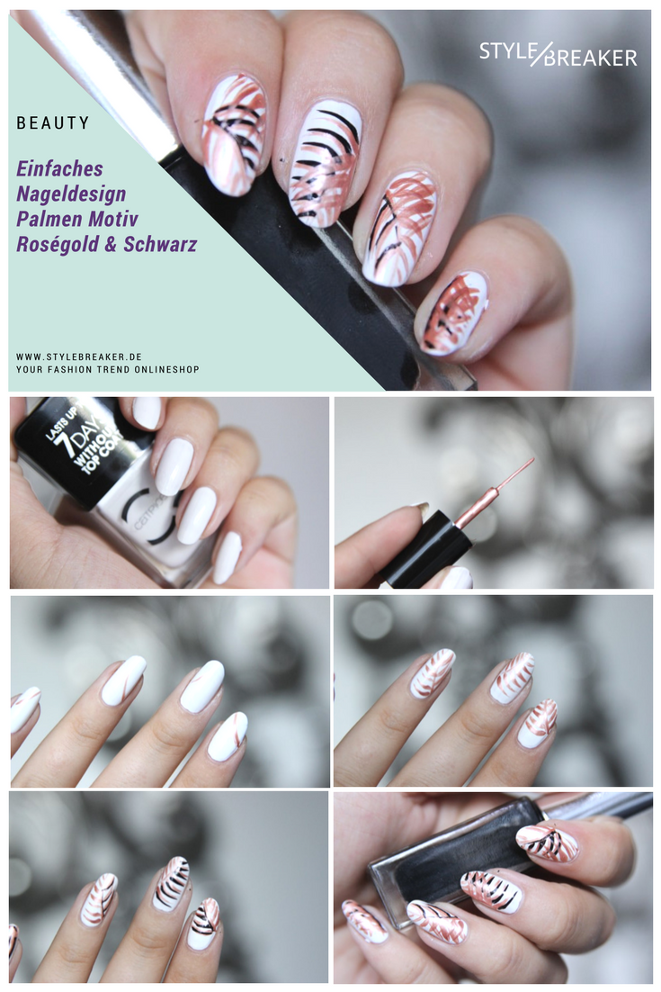 Einfaches Tutorial Fur Ein Nageldesign Mit Palmen Tutorial Nailart