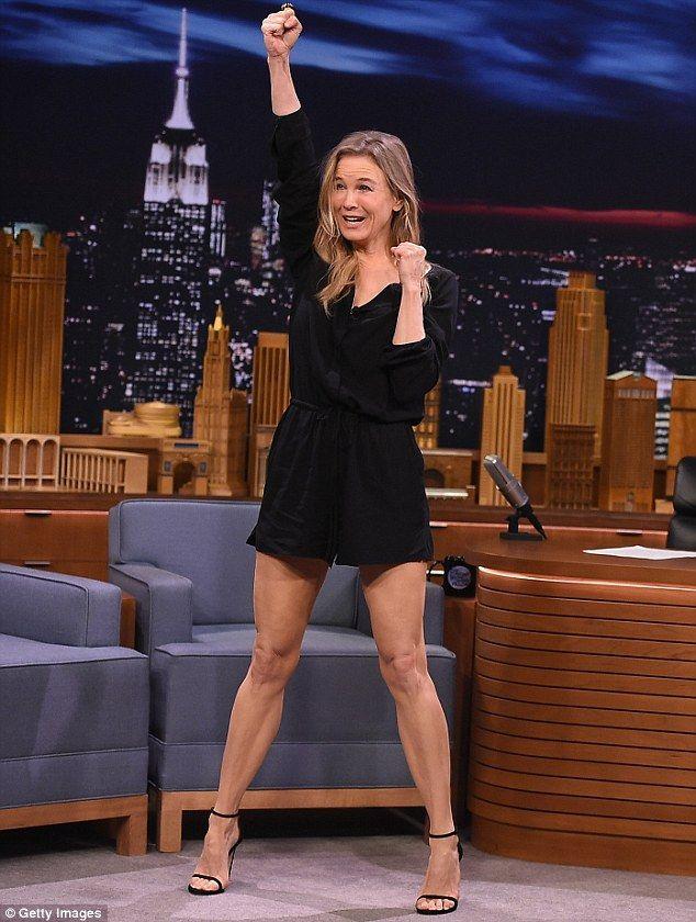 Renee Zellweger 47 Shows Off Stunning Legs On Fallon