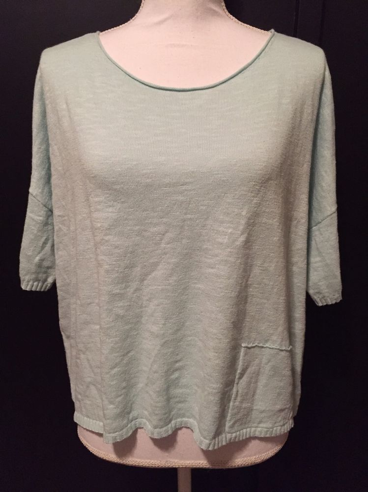 99304d1d3b5 Eileen Fisher Small Front Pocket Mint Green Linen Cotton Scoop Neck Sweater   EileenFisher  ScoopNeck