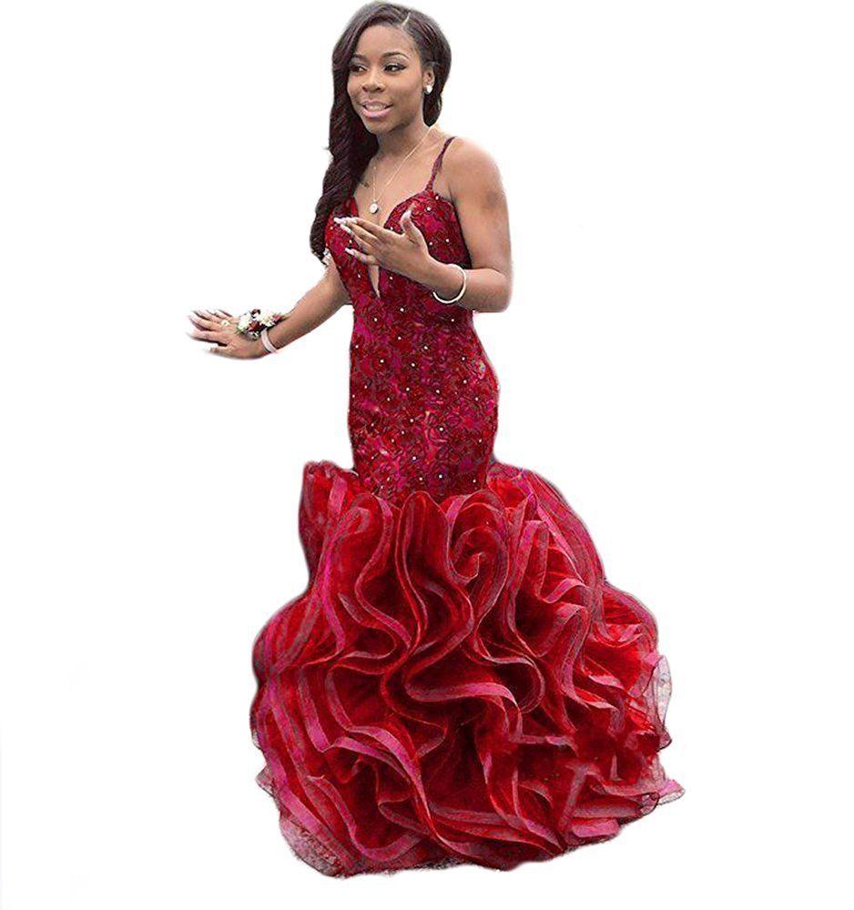 Topashe womenus appliques lace beased deep vneck mermaid prom dress