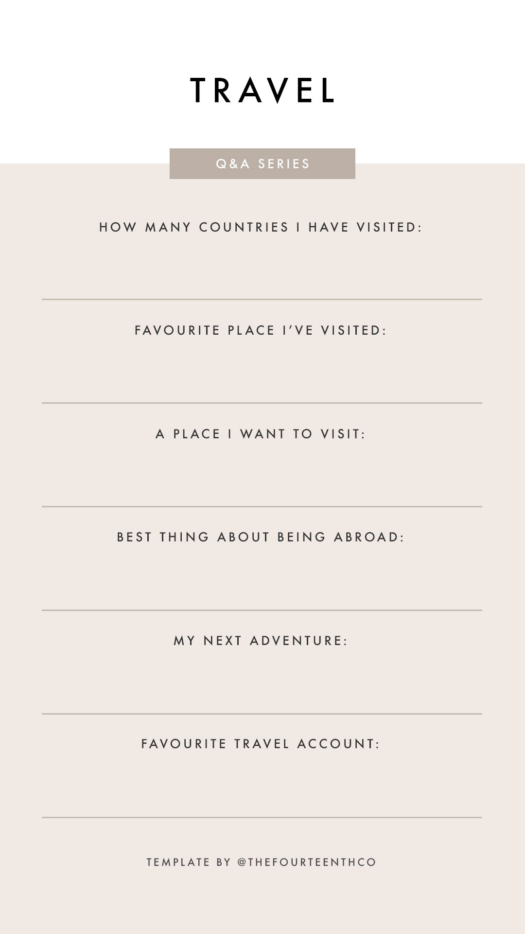 Instagram Story Template Questions Travel Q A Instagram Questions