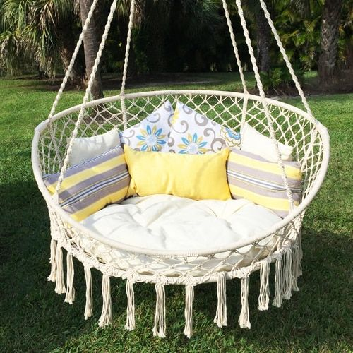 Macramé Hanging Swing Chair with Pillows is part of Hanging hammock chair - This tasteful bohemian style Hammock Chair Macramé Swing is perfect to add a little flair to your outdoor decor  These hammock chairs are woven by hand to add that special look to each of them  Measuring 55 inches in diameter with a 26inch bed size and weight capacity of 500 pounds, it fits 2 people comfortably and in style  For additional comfort, it includes 5 pillows and 1 round cushion in natural white color   Foldable bed frame provides an easier way to store your Hammock Chair Macramé Swing when not in use