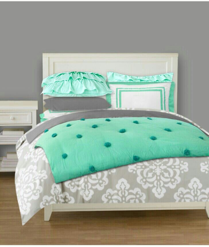 Love These Colors. Mint And Grey Bedding For A Teen Girl's