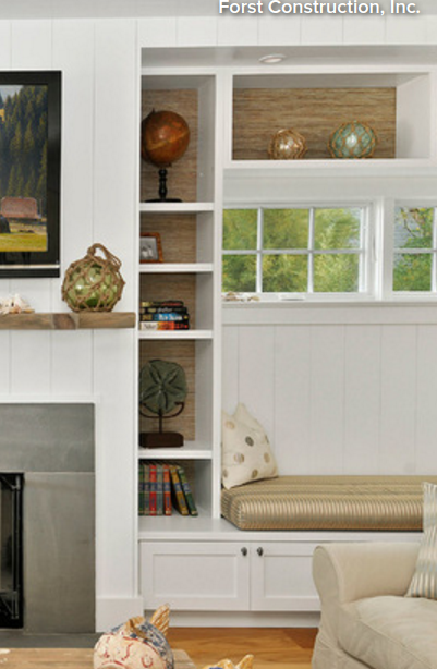 Built In Bench Seat And Shelves Around Window Next To Fireplace