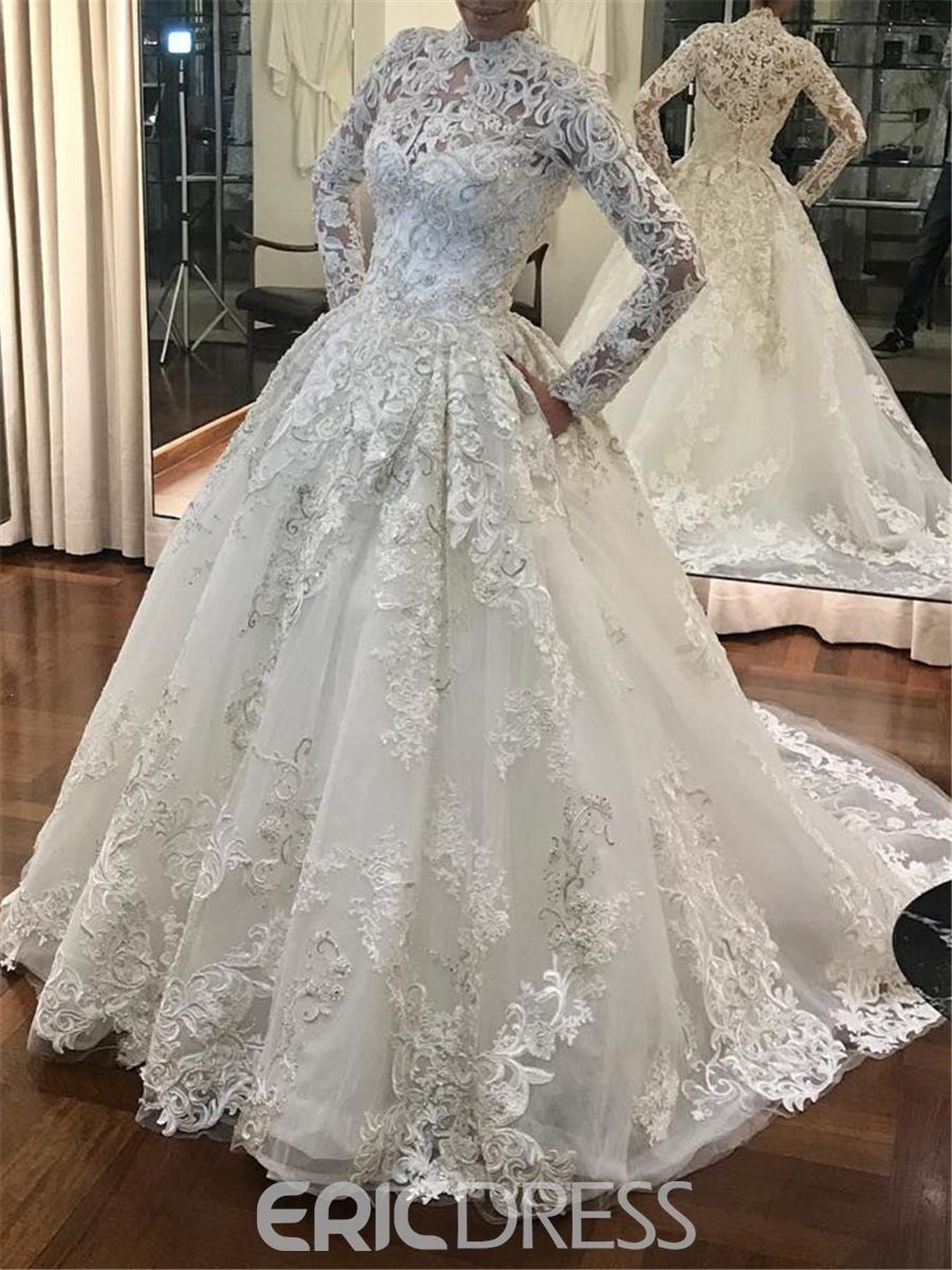 Ericdress High Neck Ball Gown Lace Long Sleeves Wedding Dress ...