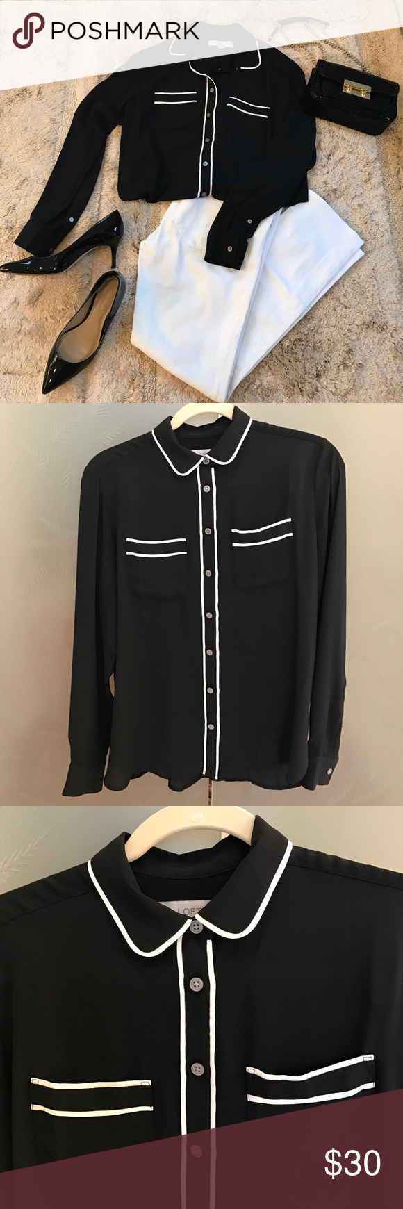 LOFT Shirt This button-front shirt is a classic! Black with white piping detail. Two front pockets. 100% polyester. LOFT Tops Blouses