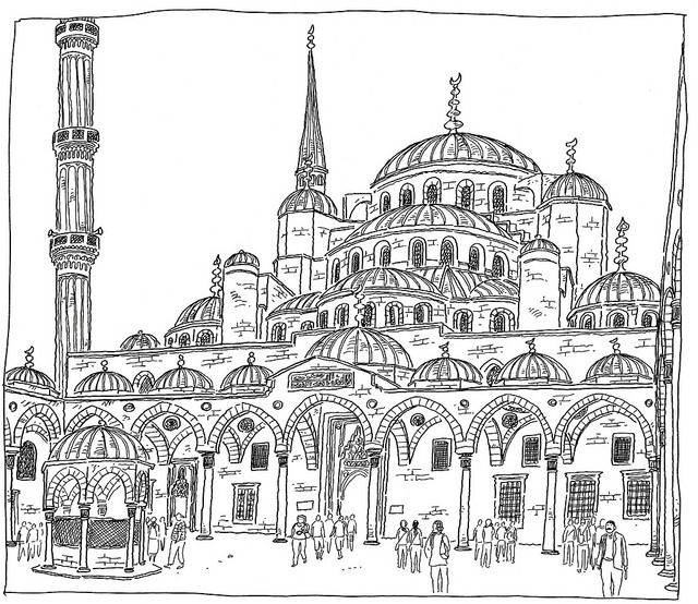 Turkey Istanbul Sultanahmet Camii Blue Mosque Mosque Art Mosque Drawing Islamic Art