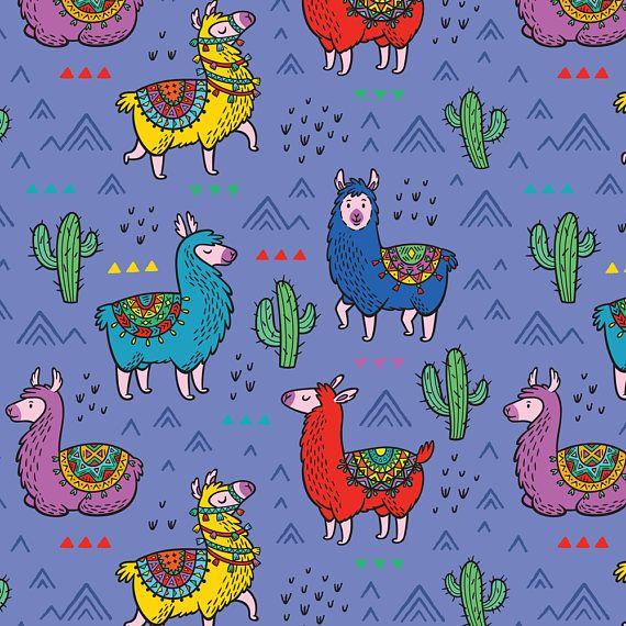 Llama Fabric Mountain Alpaca By Penguinhouse Hipster