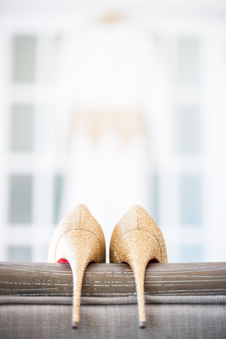 Gold glittery Christian Louboutin wedding heels | itakeyou.co.uk