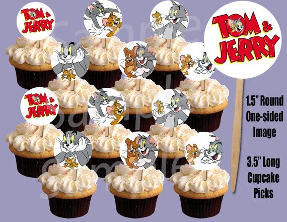 Tom Jerry 15 Circle Image Cupcake Picks Cake by YummeePrints