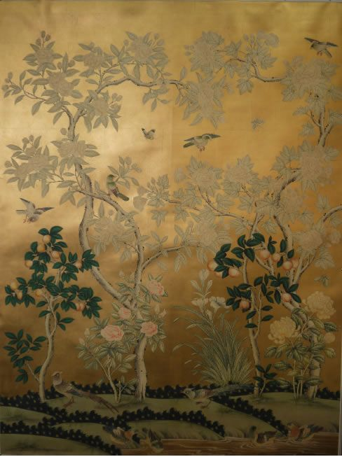 Sy 230 G Handpainted Chinese Scenic Wallpaper On An 18th Century