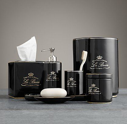 Rh S Le Bain French Porcelain Bath Accessories Black In The Style Of Clic Hotel Our Collection Is A Refined Way To