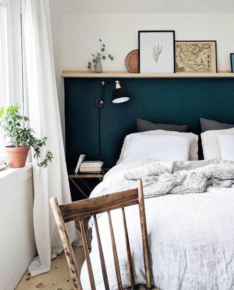 Painted 3 4 Wall With Shelf Eclectic Master Bedroom Blue Bedroom Walls Bedroom Interior