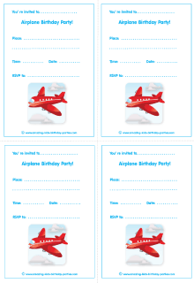 airplane party free birthday cards