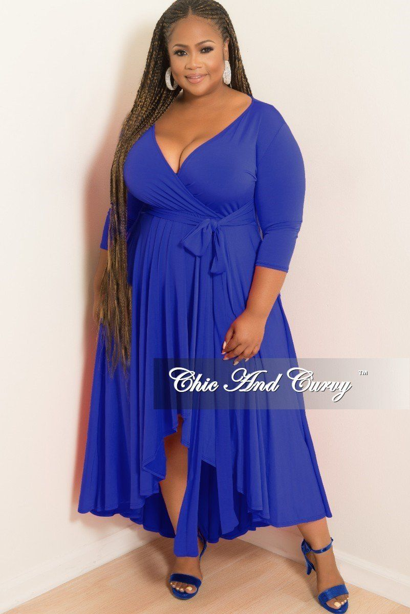 73adc0cb0d2be Plus Size Faux Wrap High-Low Dress with Attached Tie in Royal Blue – Chic  And Curvy
