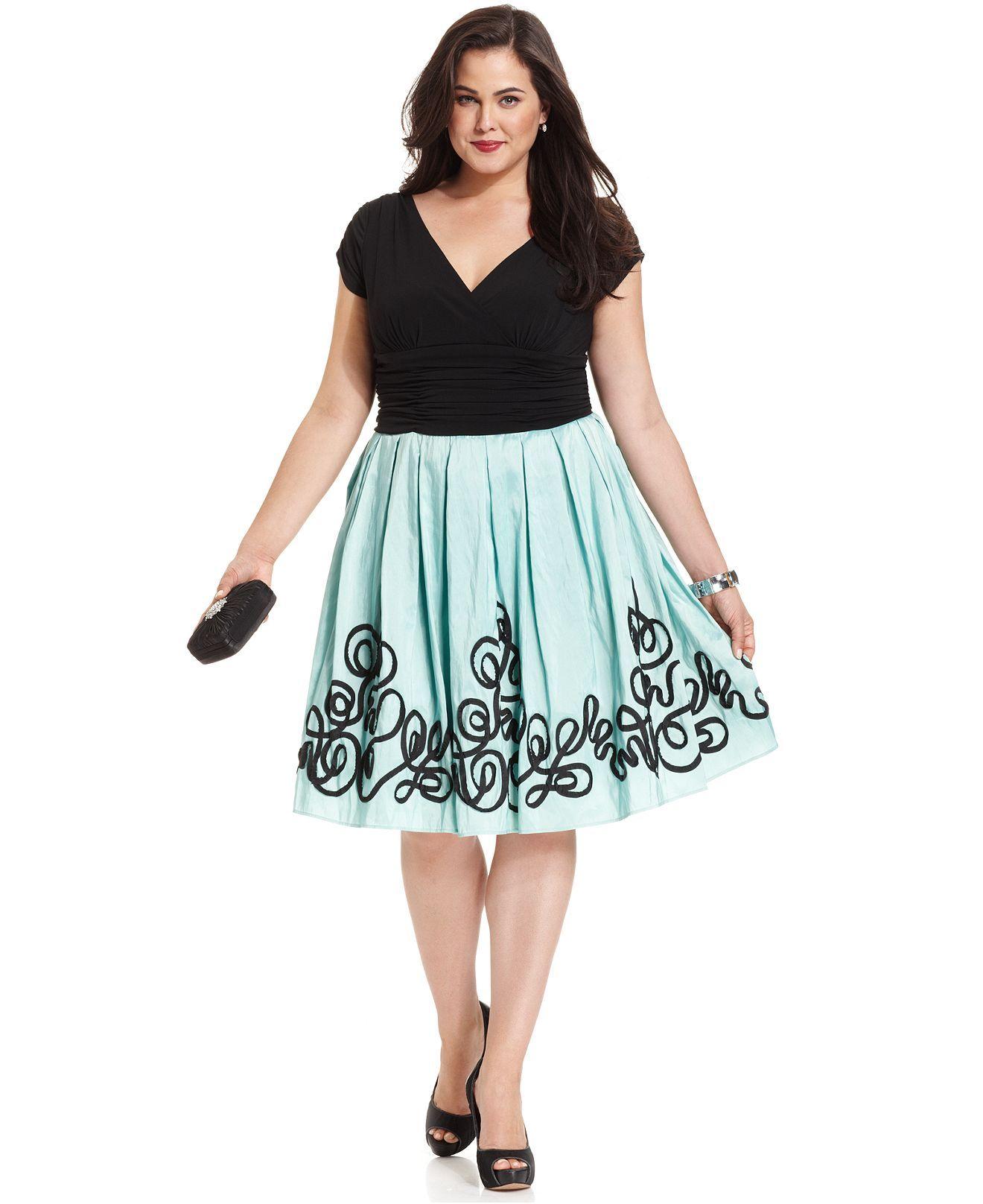 SL Fashions Plus Size Dress, Cap-Sleeve A-Line - Plus Size Dresses ...