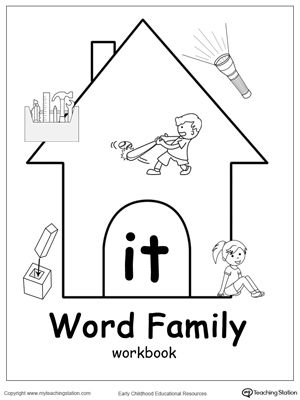 IT Word Family Workbook for Kindergarten | Word families, The o ...