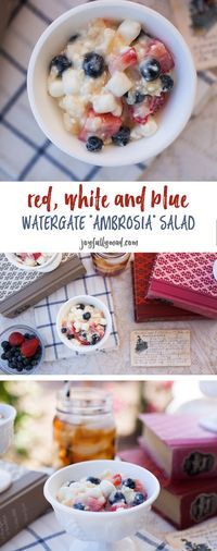 """This new spin on a traditional pistachio salad recipe makes the perfect Memorial Day or 4th of July treat! Check out this Red, White & Blue Watergate """"Ambrosia"""" Salad recipe!"""