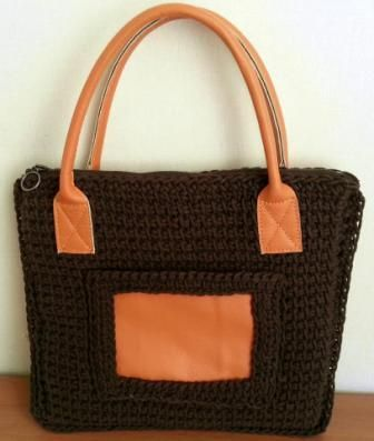 Special design leather handle brown bag