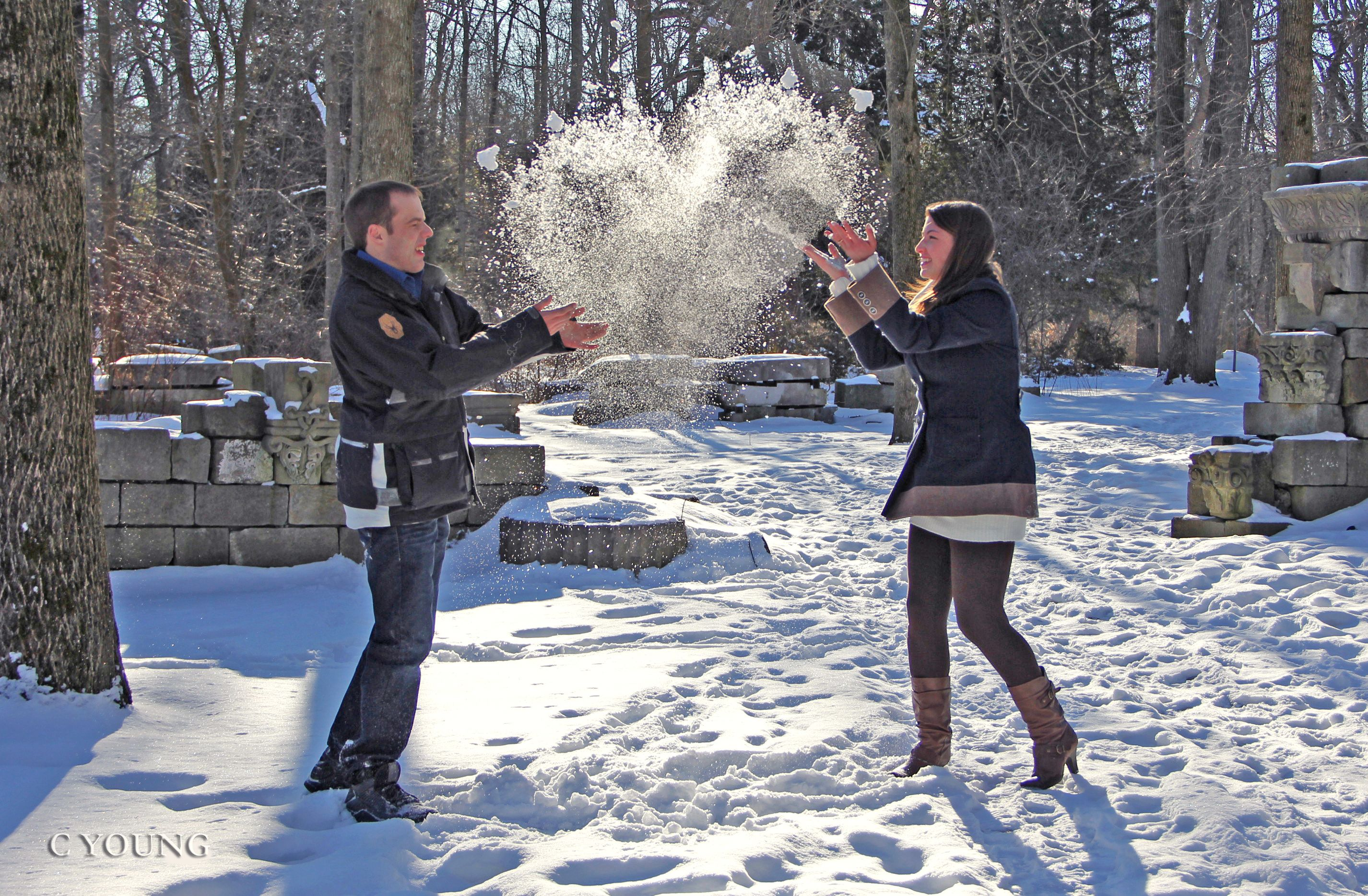 Winter Engagement Couple Pose Cute Stuff Engagement