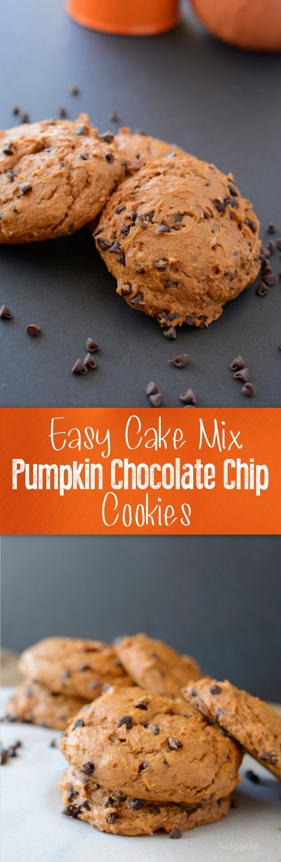 Easy cake mix pumpkin chocolate chip cookies - so easy and so good | recipe on NoBiggie.net