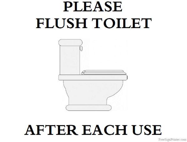 Printable Please Flush Toilet Sign Toilet Sign Flush Toilet Printable Signs Free