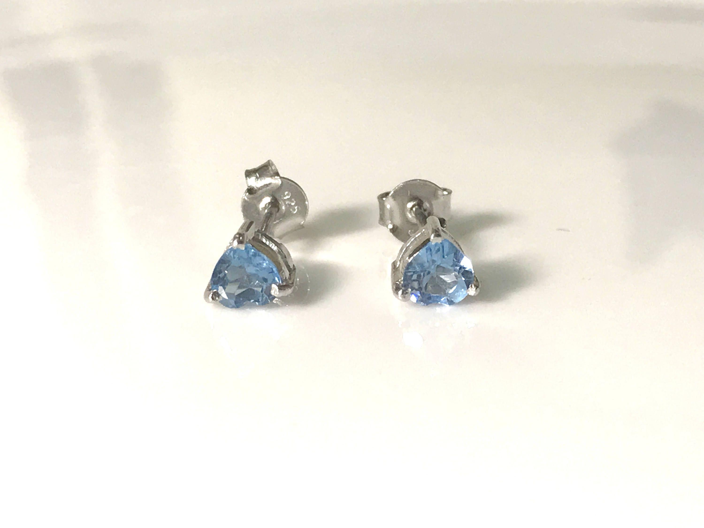 Blue Topaz Earring Heart Shape Style Bluetopaz Stud Earrings Blueish December Birthstone Gemstones By