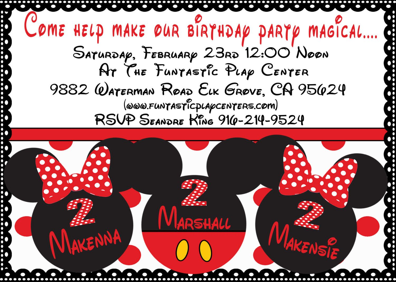 Minnie Mickey Mouse Triplets Twins Birthday Invitation
