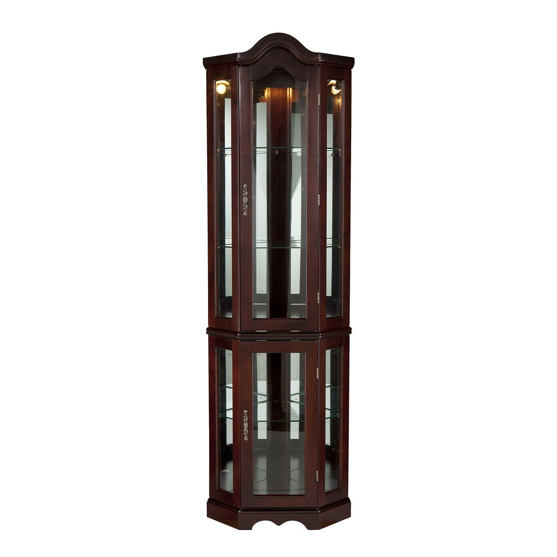 Lighted Corner Curio Cabinet - Mahogany | Accent furniture ...
