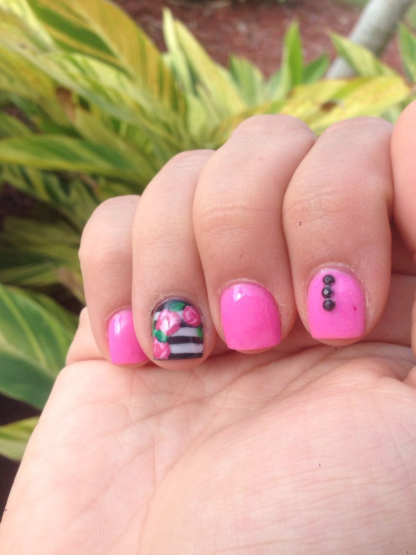 Kate Spade inspired nail art, black, white and, pink! Love them ...